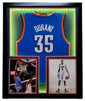 Kevin Durant Triple-Signed 32x41 Custom Framed Jersey & Photo Display with LED Lights (JSA Hologram & PSA Hologram) at PristineAuction.com