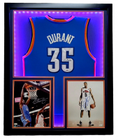 Kevin Durant Triple-Signed 32x41 Custom Framed Jersey & Photo Display with LED Lights (JSA Hologram & PSA Hologram) at PristineAuction.com