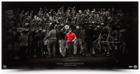 "Tiger Woods Signed ""Moving Forward"" 18x36 Photo (UDA COA) at PristineAuction.com"
