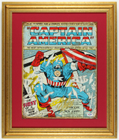 "Stan Lee Signed ""Captain America"" 18.75"" x 22.25"" Custom Framed Tin Print Display (PSA COA) at PristineAuction.com"