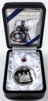 2016 Fiji Commemorative Captain America Shield 2oz Silver Dollar with Display Case at PristineAuction.com