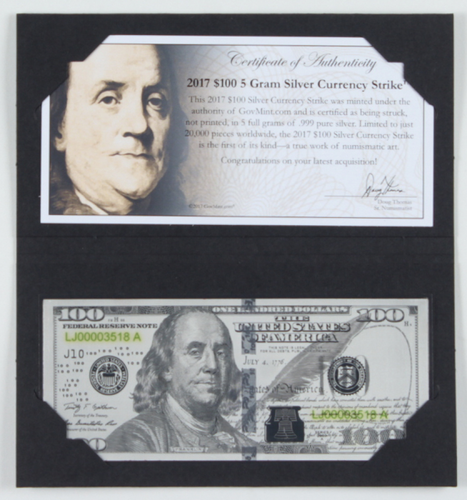 2017 $100 One Hundred Dollar 5g Silver Currency Strike at PristineAuction.com