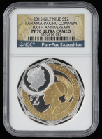 2015 Gilt Niue Panama-Pacific Commem 100th Anniversary Silver Coin (NGC PF70 Ultra Cameo) at PristineAuction.com
