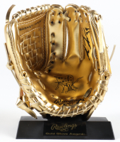 Kevin Kiermaier Signed Mini Gold Baseball Glove with Stand (JSA COA) at PristineAuction.com