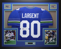 "Steve Largent Signed 35x43 Custom Framed Jersey Inscribed ""HOF 95"" (JSA COA) at PristineAuction.com"