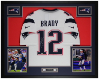 Tom Brady Signed Patriots 35x43 Custom Framed Jersey (Fanatics Hologram) at PristineAuction.com