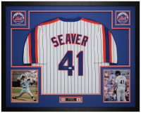 "Tom Seaver Signed 35x43 Custom Framed Jersey & Photo Display Inscribed ""HOF 92"" (JSA COA) at PristineAuction.com"