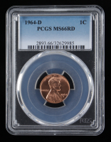 1964-D Lincoln Cent Wheat Penny (PCGS MS66 Red) at PristineAuction.com