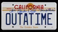 "Claudia Wells Signed Back to the Future ""OUTATIME"" DeLorean Prop Replica License Plate Inscribed ""Jennifer Parker"" & ""Love"" (JSA COA) at PristineAuction.com"