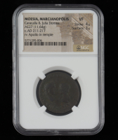 Caracalla & Julia Domna c. AD 211-217 Ancient Roman Empire, Provincial Moesia AE 27 Marcianopolis Mint (NGC VF) Strike 4/5 Surface 3/5 at PristineAuction.com