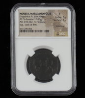 Elagabalus & Julia Maesa AD 218-222 Ancient Roman Empire, Provincial Moesia  AE 5 Marcianopolis Mint (NGC Fine) Strike 5/5 Surface 1/5 at PristineAuction.com