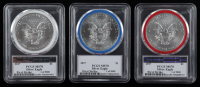 Set of (3) 2017 American Silver Eagle $1 One Dollar Coin - Donald Trump & Mike Pence Label / 45th Presidential Inauguration - First Strike (NGC MS70) at PristineAuction.com