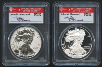 Mercanti Signed 2012-S American Silver Eagle $1 One Dollar Coin Proof & Reverse Proof 2 Coin Set - 75th Anniversary, First Strike (PCGS PR69 Deep Cameo) at PristineAuction.com