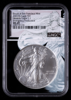 2021-(S) American Silver Eagle $1 One Dollar Coin - Emergency Production, Type 1 Heraldic Eagle - Eagle Core Holder (NGC MS69) at PristineAuction.com
