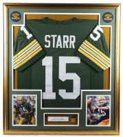 Bart Starr Signed 33x37 Custom Framed Cut Display with Jersey & Super Bowl II Champions Pin (JSA COA) at PristineAuction.com