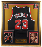 Michael Jordan 32x36 Custom Framed Jersey with HOF Pin at PristineAuction.com