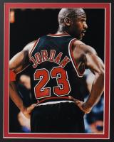 Michael Jordan 32x36 Custom Framed Jersey with HOF Pin at PristineAuction.com
