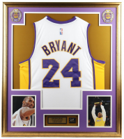 Kobe Bryant 32x36 Custom Framed Jersey Display with #24 Gold Jersey Pin at PristineAuction.com