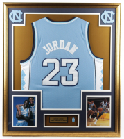 Michael Jordan 32x36 Custom Framed Jersey Display with North Carolina Jersey Pin at PristineAuction.com