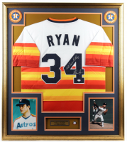 """Nolan Ryan Signed Astros 32x36 Custom Framed Jersey Display Inscribed """"All Time K King"""" with HOF Induction Pin (PSA COA) at PristineAuction.com"""