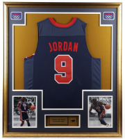 Michael Jordan 33x37 Custom Framed Jersey with Champions USA Basketball Pin at PristineAuction.com