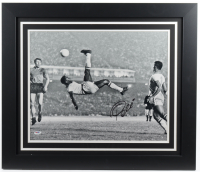 Pele Signed Brazil 23.5x27.5 Custom Framed Photo Display (PSA Hologram) at PristineAuction.com