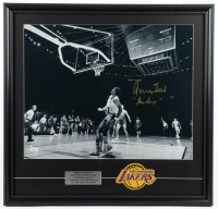 "Jerry West Signed Lakers 23x24 Custom Framed Photo Display Inscribed ""The Logo"" with Cloth Patch (JSA COA) at PristineAuction.com"