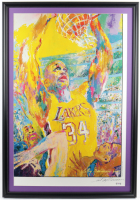 "LeRoy Neiman Signed Lakers ""Shaquille O'Neal"" 25x36 Custom Framed Original Lithograph Display (PSA COA) at PristineAuction.com"