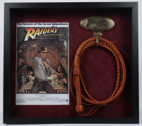 """Raiders of the Lost Ark"" 23x26 Custom Framed Shadowbox Display with Full Size Replica Prop Leather Whip including Brass Holder (See Description) at PristineAuction.com"