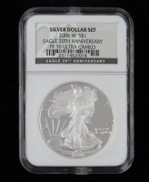 2006-W American Silver Eagle $1 One Dollar Coin - 20th Anniversary, Black Label (NGC PF70 Ultra Cameo) at PristineAuction.com