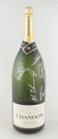 Indianapolis 500 Winners Racing Legends Giant Champagne Bottle Signed By (5) With Mario Andretti, Michael Andretti, Rick Mears, Al Unser Jr. & Bobby Rahal (PSA LOA) (See Description) at PristineAuction.com