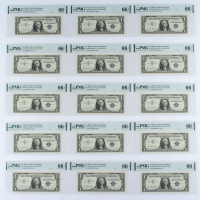 Set of (15) 1957A $1 Blue Seal Silver Certificate Bank Notes (PMG Gem Uncirculated 66 EPQ) at PristineAuction.com
