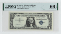 Set of (5) 1957A $1 Blue Seal Silver Certificate Bank Notes (PMG Gem Uncirculated 66) at PristineAuction.com