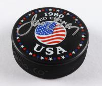 Jim Craig Signed Team USA 1980 Gold Champs Logo Hockey Puck (PSA COA) at PristineAuction.com