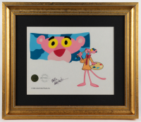 "Friz Freleng Signed ""Pink Panther"" LE 15.5x17.75 Custom Framed Sericel at PristineAuction.com"