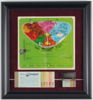 Disneyland 12x13 Custom Framed Vintage Park Map Display with Ticket Booklet & Pin at PristineAuction.com