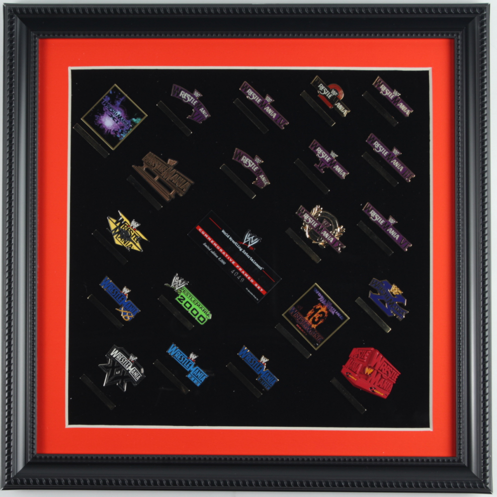 20 Years of Wrestle Mania LE Commemorative 15x15 Custom Framed Pin Set Display at PristineAuction.com