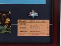 """Alice in Wonderland"" 15x26 Custom Framed Print Display with Vintage Disney Ticket Book, Vintage Souvenir Postcard & Lapel Pin at PristineAuction.com"