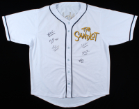 Baseball Jersey Cast-Signed by (6) with Tom Guiry, Chauncey Leopardi, Marty York, Shane Obedzinski, Victor DiMattia, & Brandon Adams With Multiple Inscriptions (JSA COA) at PristineAuction.com