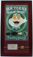 "Disneyland Fantasyland's ""Mr. Toad's Wild Ride"" 15x26 Custom Framed Print Display with Vintage Ticket & Lapel Pin at PristineAuction.com"