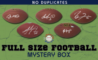 Schwartz Sports NO DUPLICATES Full-Size Football Signed Mystery Box - Series 1  (Limited to 75)(75 Different Players!!) at PristineAuction.com