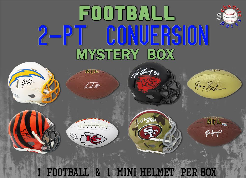 Schwartz Sports 2-Pt Conversion Full-Size Football/Mini Helmet Signed Mystery Box - Series 9 (Limited to 100) at PristineAuction.com