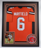 Baker Mayfield Signed 34x42 Custom Framed Jersey (Beckett COA) at PristineAuction.com