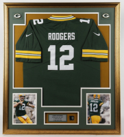 Aaron Rodgers Packers 32.5x37 Custom Framed Jersey Display with Super Bowl XLV Champions Pin at PristineAuction.com