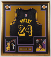 Kobe Bryant 32.5x37 Custom Framed Jersey with Career Highlight Pin at PristineAuction.com