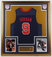 Michael Jordan 32.75x36.75 Custom Framed Jersey Display with USA Basketball Pin at PristineAuction.com