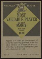 Roger Maris 1961 Topps #478 MVP at PristineAuction.com