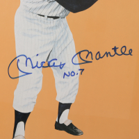 Mickey Mantle Signed Yankees 32.5x44.5 Custom Framed Poster Display (Beckett LOA) (See Description) at PristineAuction.com