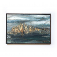 """Kobie Moore Signed """"Mountain Landscape"""" 26x37 Acrylic on Wood with Walnut Frame at PristineAuction.com"""