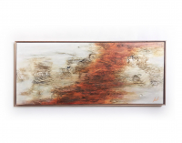 """Kobie Moore Signed """"Spread Love"""" 25x59 Acrylic on Wood with Walnut Frame at PristineAuction.com"""